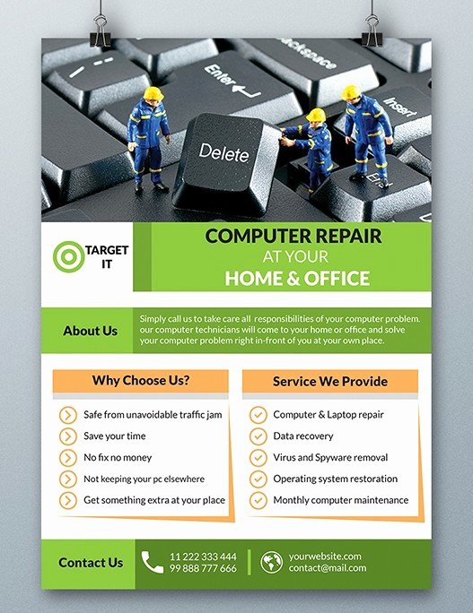 Computer Repair Flyers Templates Lovely Free Puter Repair Flyer Template Psd Titanui