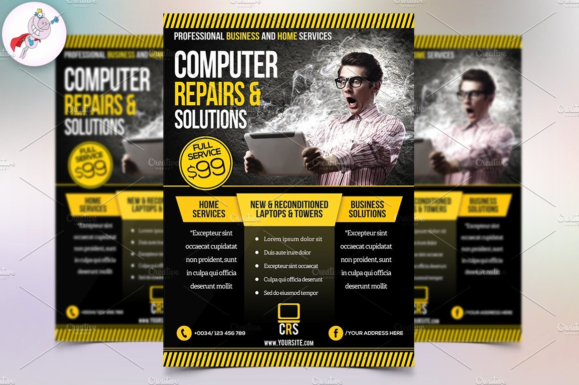 Computer Repair Flyers Templates Luxury Puter Repair Business Flyer Flyer Templates Creative Market