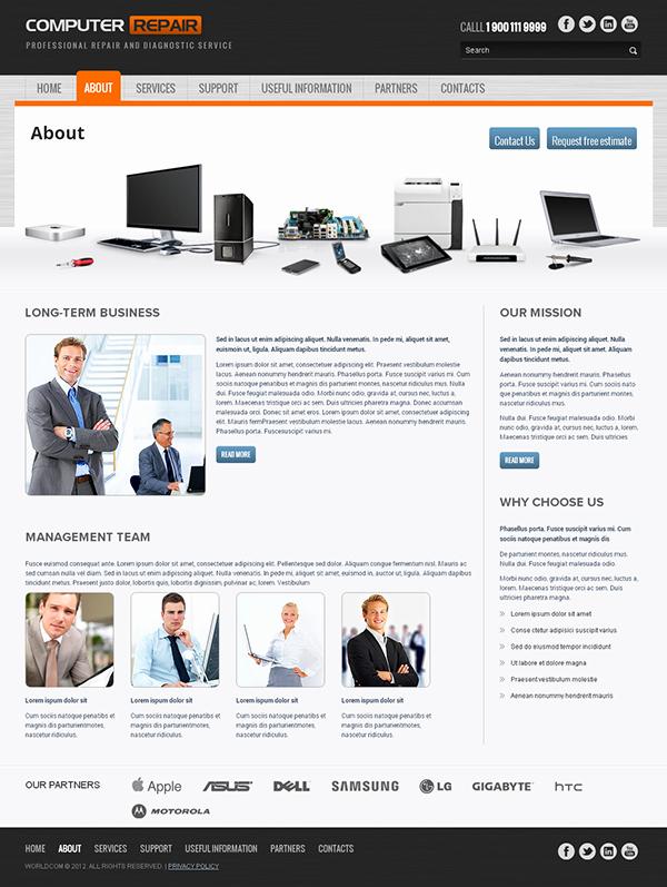 Computer Repair Web Template Elegant Puter Repair Responsive Wordpress Template On Behance