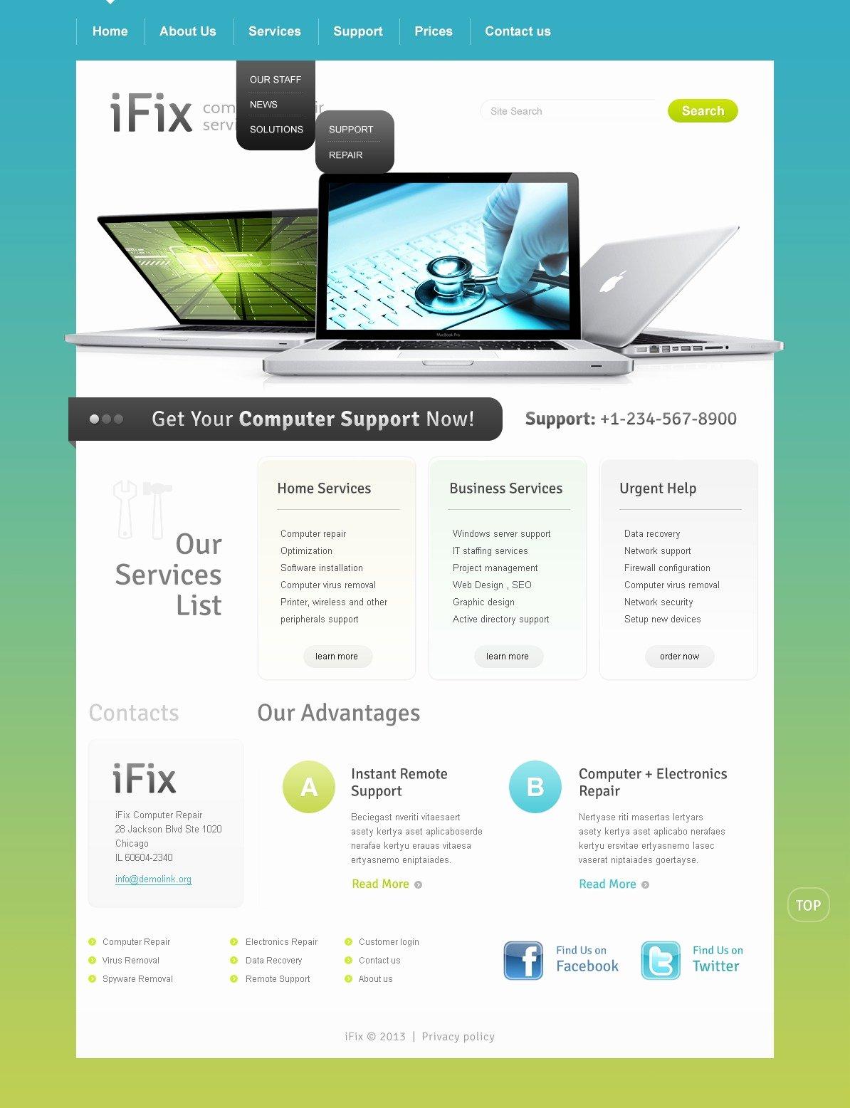 Computer Repair Web Template Fresh Puter Repair Website Template