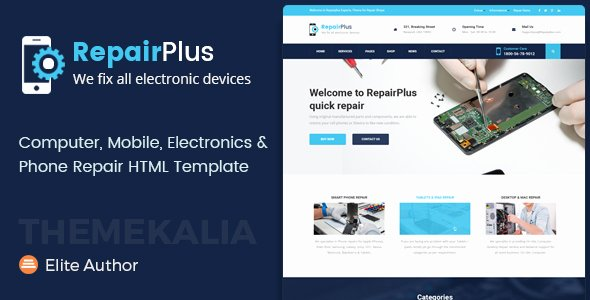 Computer Repair Web Template Lovely Repair Plus Electronics and Phone HTML Template by themekalia
