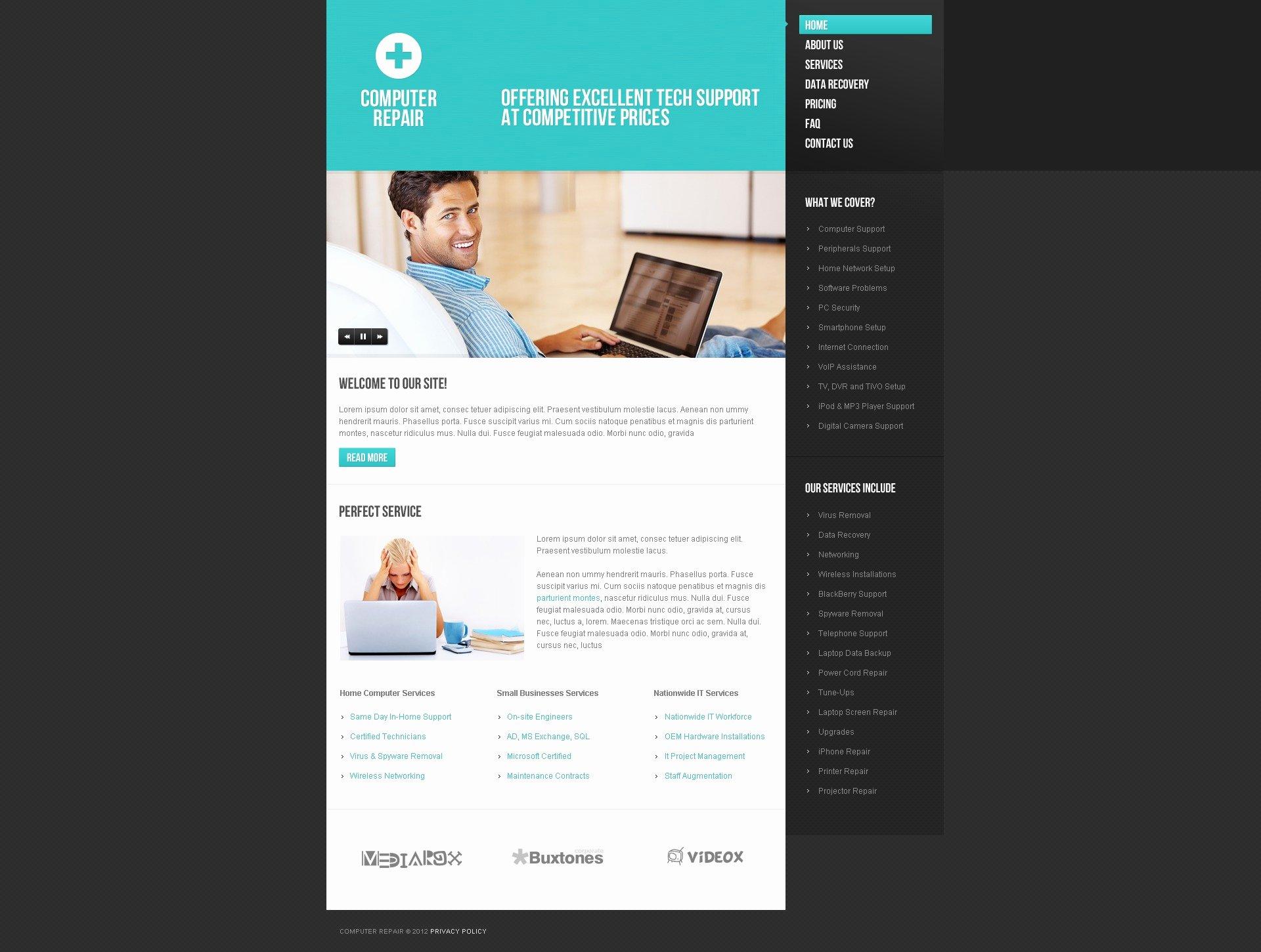 Computer Repair Web Templates Beautiful Puter Repair Website Template