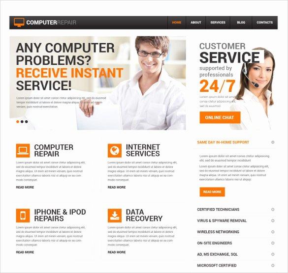 Computer Repair Web Templates Inspirational 28 Puter Repair Website themes & Templates