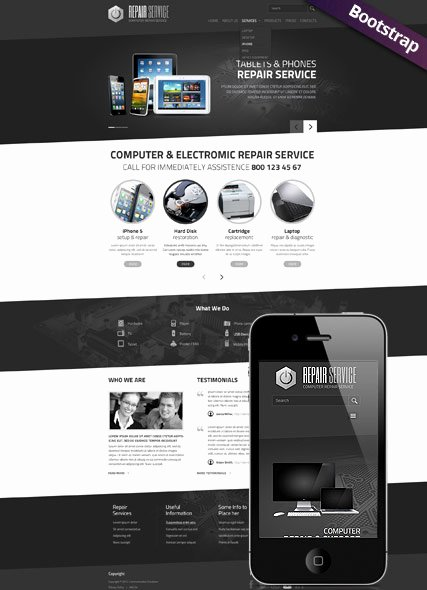 Computer Repair Website Template Awesome Pc Repair Service Web Template