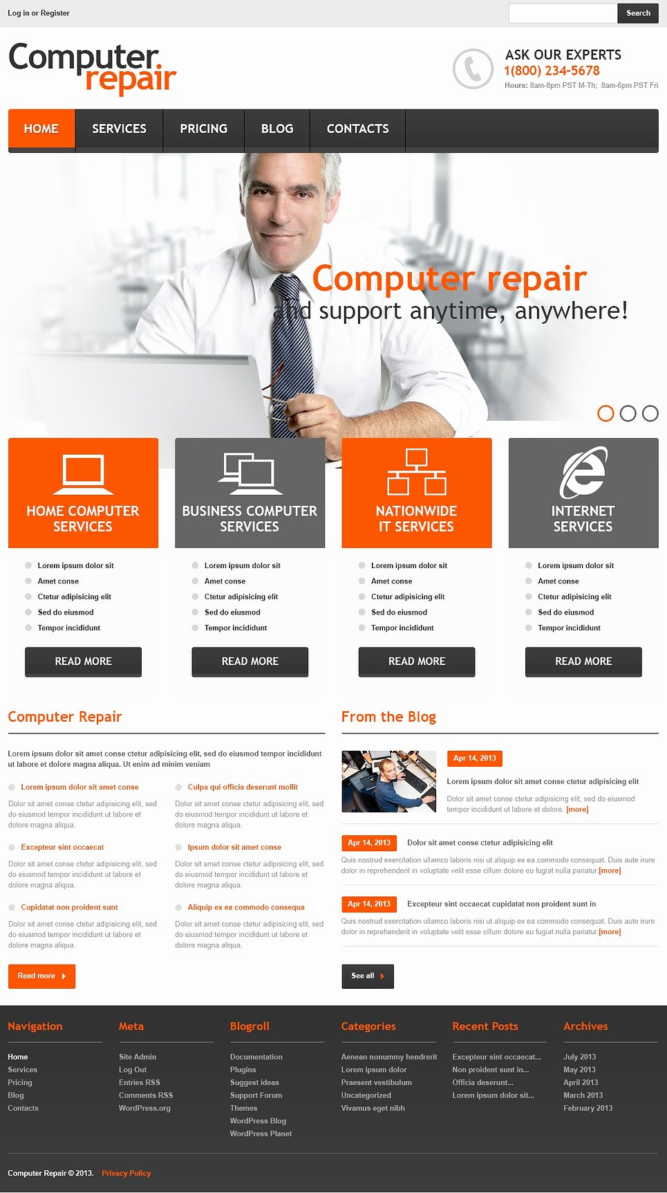 Computer Repair Website Template Best Of Ficial Puter Repair Wordpress theme Web Design