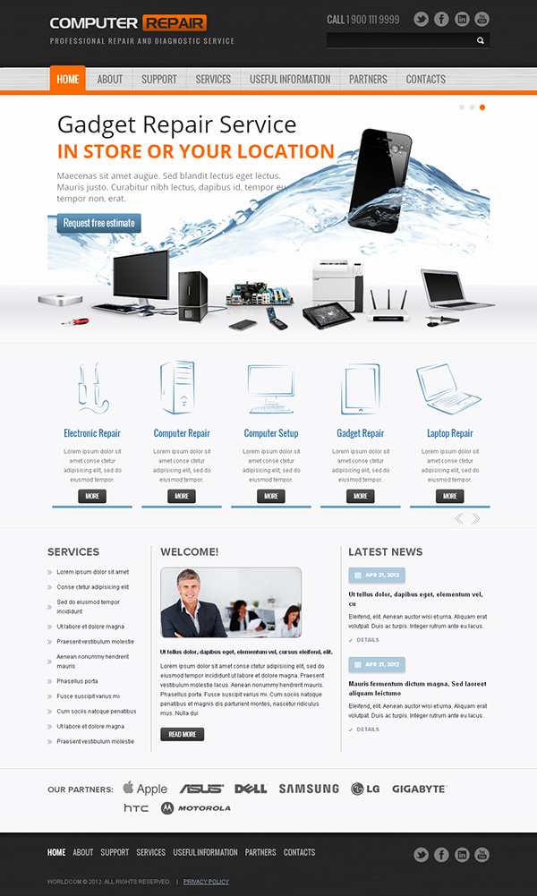 Computer Repair Website Template Free Awesome Puter Repair & Diagnistic Bootstrap HTML Template On Behance