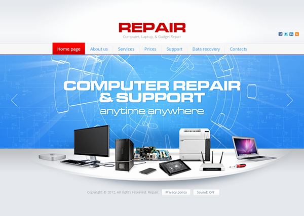 Computer Repair Website Template Free Lovely Repair Puter Laptop Gad Repair HTML5 Template On Behance