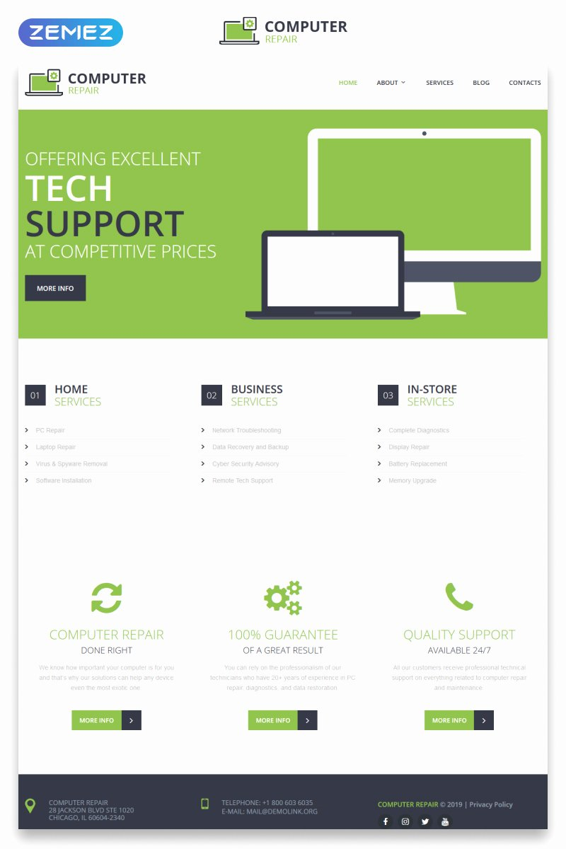 Computer Repair Website Template Free Luxury Puter Repair Responsive Website Template