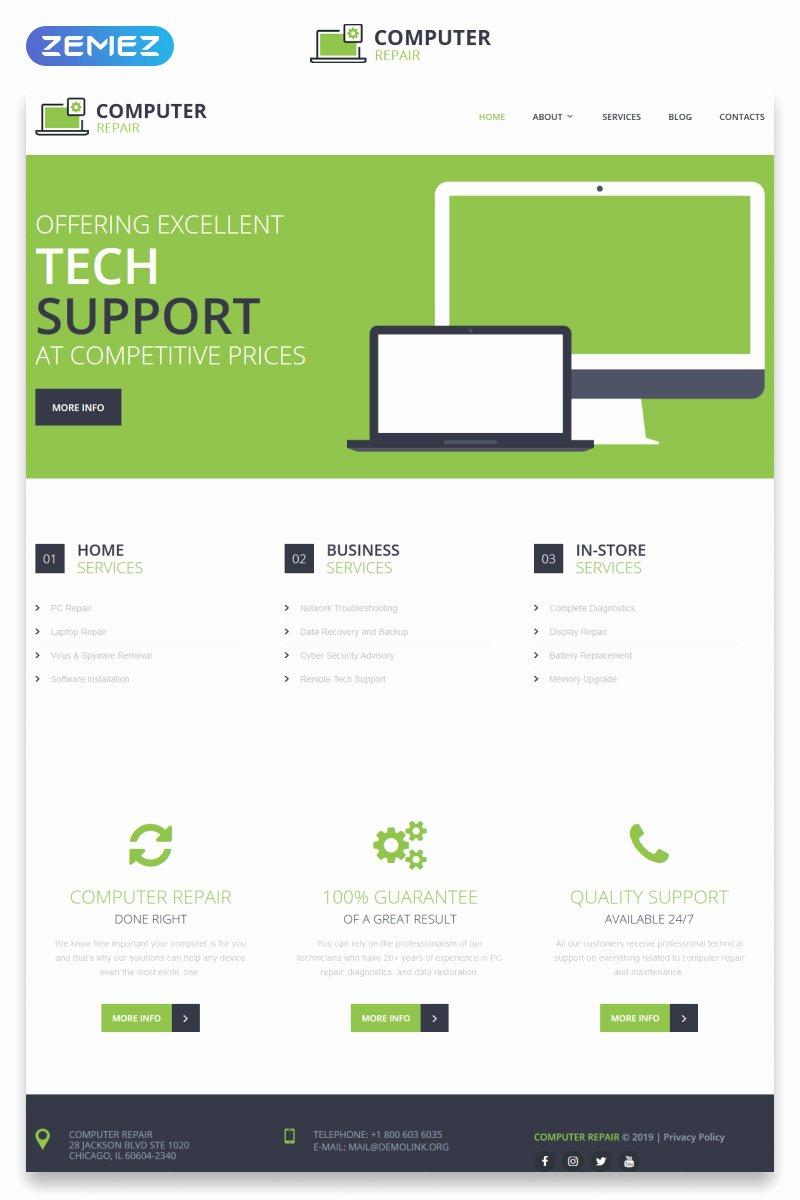 Computer Repair Websites Templates New Puter Repair Responsive Website Template