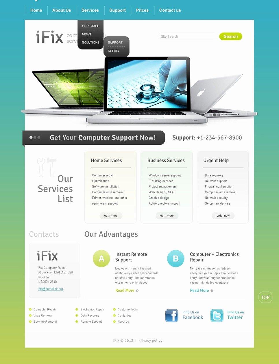 Computer Repair Websites Templates New Puter Repair Website Template