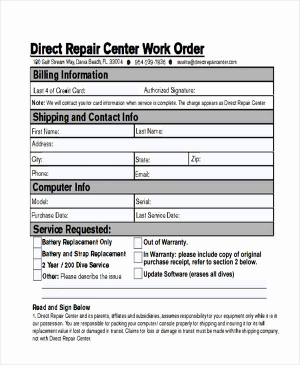 Computer Repair Work order Template Beautiful 28 Work order Templates Ai Psd