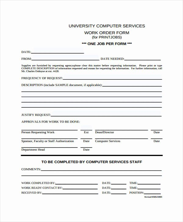 Computer Repair Work order Template Fresh Free 20 Sample Work order forms In Pdf