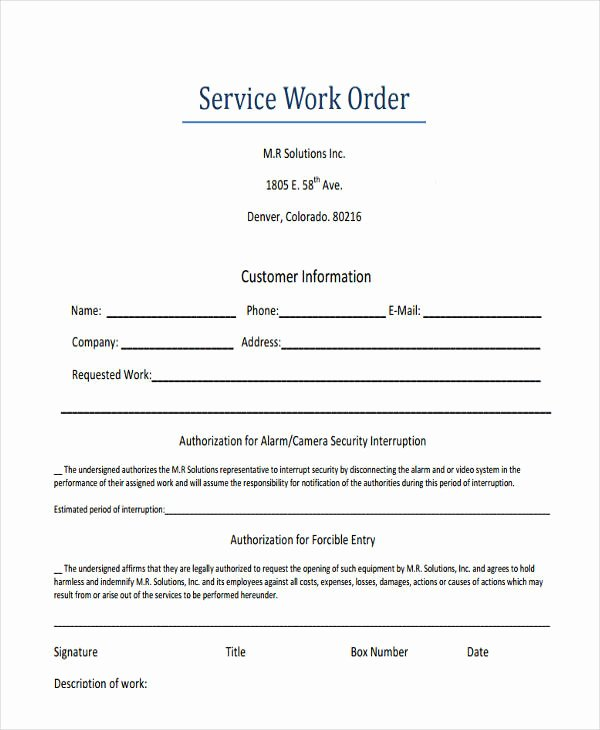 Computer Repair Work order Template Lovely 17 Work order formats