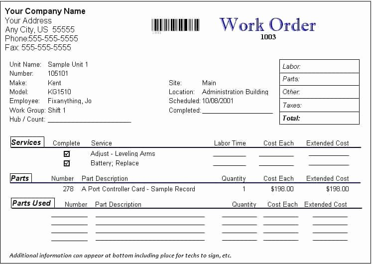 Computer Repair Work order Template Lovely Work order formats