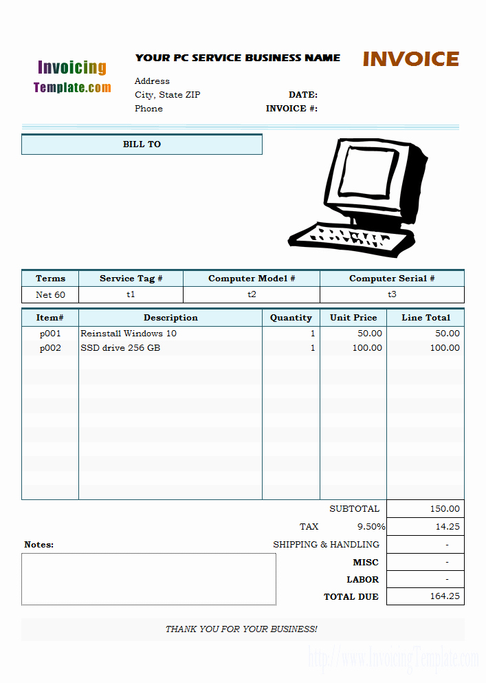Computer Repair Work order Template New Puter Repair Invoice Template Pdf – Printable Receipt Template