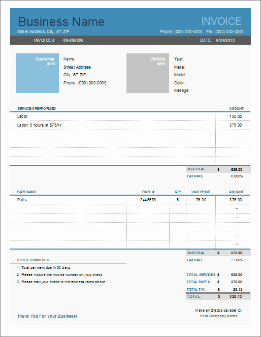 Computer Repair Work order Template Unique Auto Repair Invoice Template for Excel