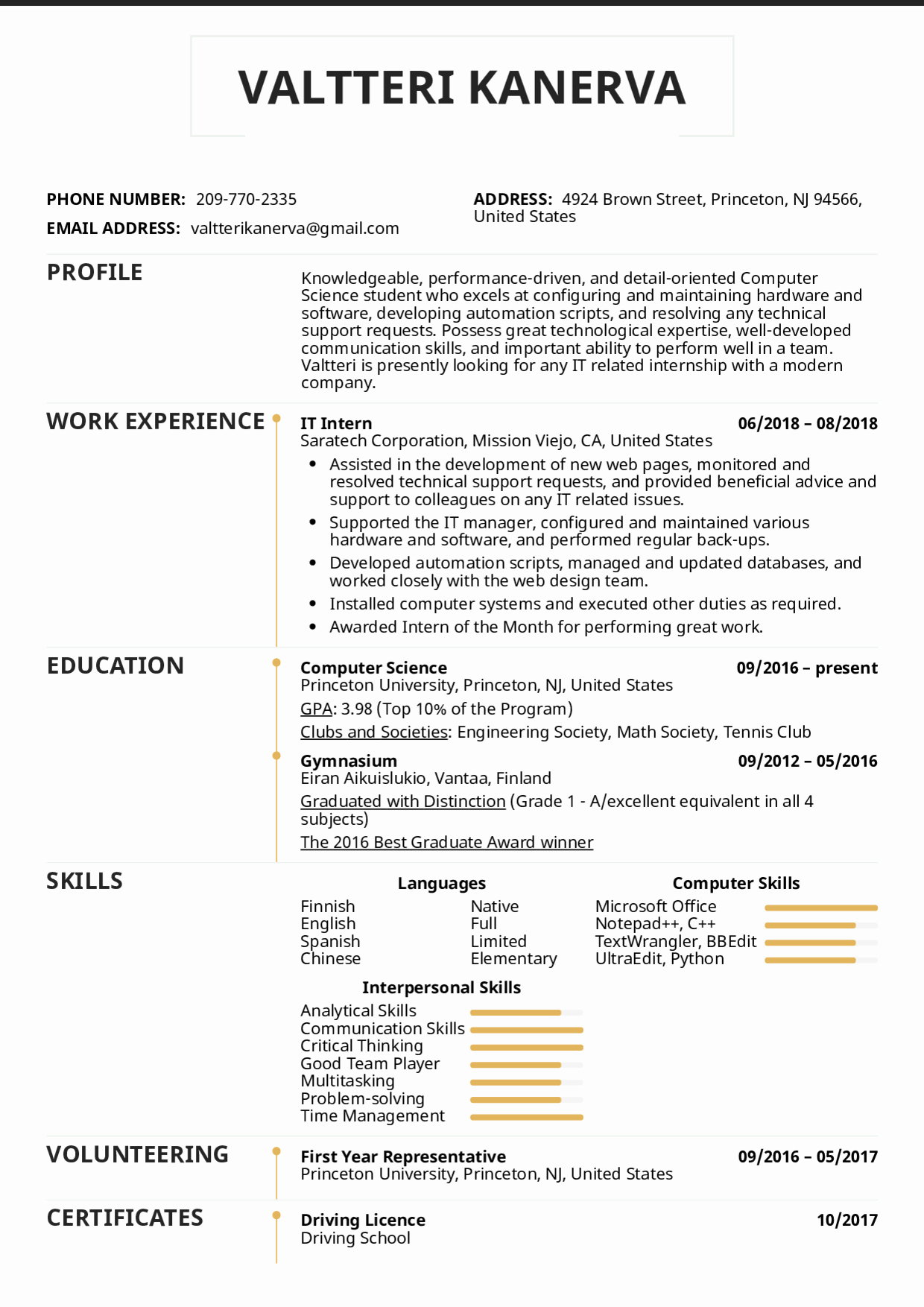Computer Science Internship Resume Inspirational Resume Examples by Real People It Intern Resume Template