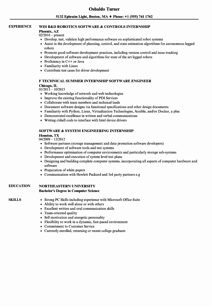 Computer Science Internship Resume New software Internship Resume Samples
