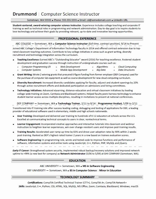 Computer Science Resume Example Beautiful Puter Science Resume Sample