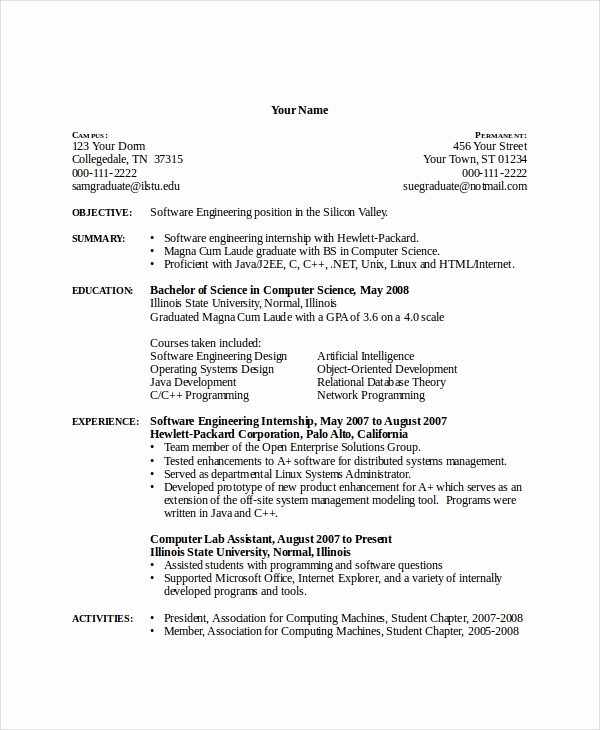 Computer Science Resume Example Elegant 12 Puter Science Resume Templates Pdf Doc