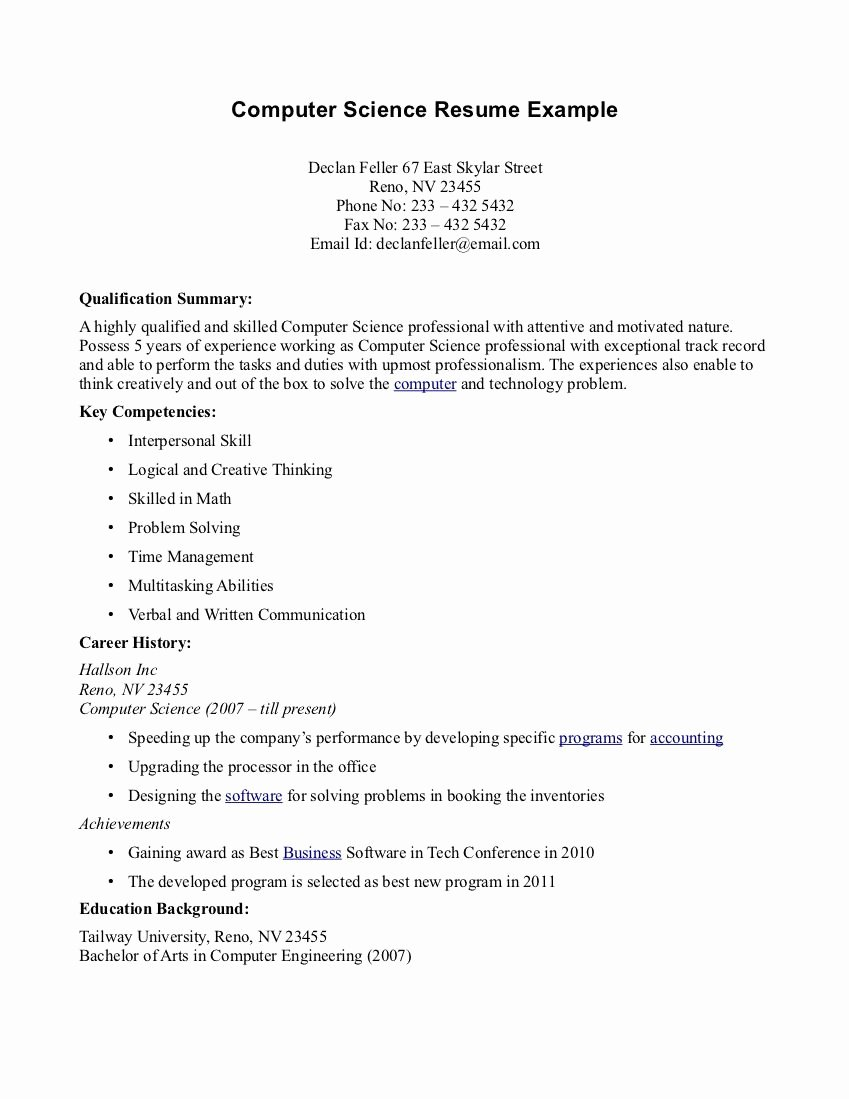 Computer Science Resume Example Elegant Puter Science Resume Templates O Puter Science Resume Templates