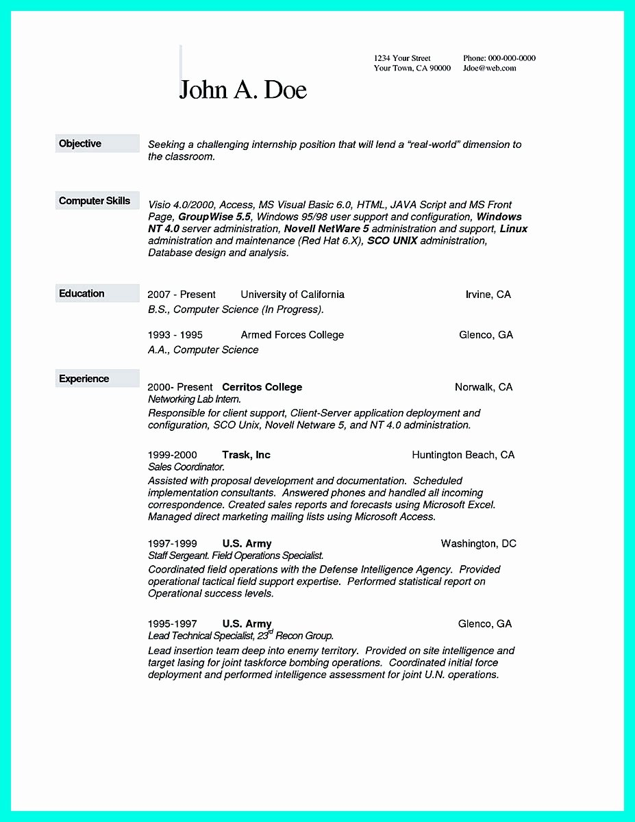 Computer Science Resume Example Fresh the Best Puter Science Resume Sample Collection