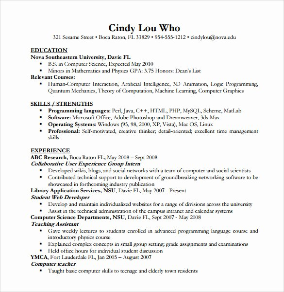 Computer Science Resume Example Luxury Sample Puter Science Resume 11 Download Free Documents In Pdf Word