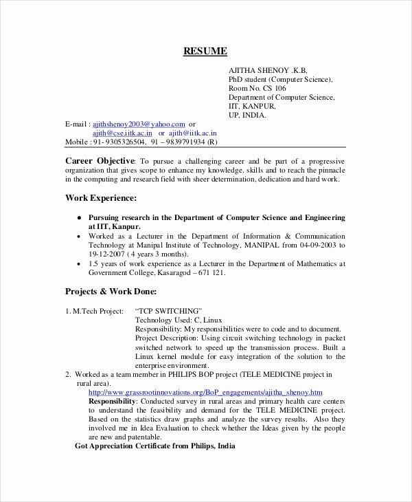 Computer Science Resume Example New Pin On Resume Template