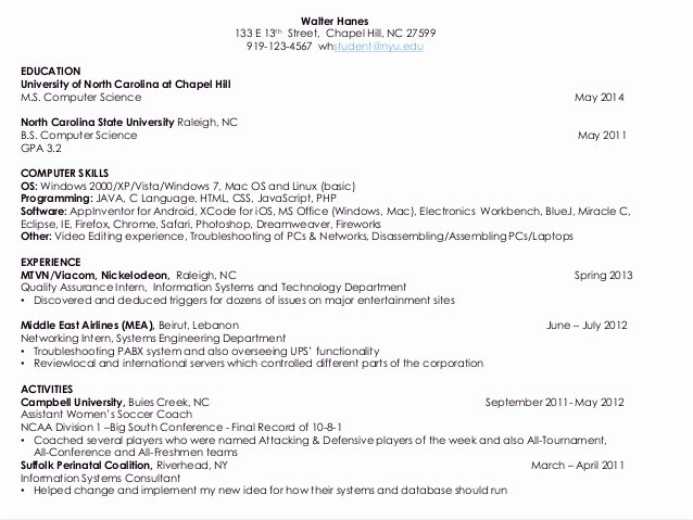 Computer Science Resume Example New Resume S for Puter Science Students 2014