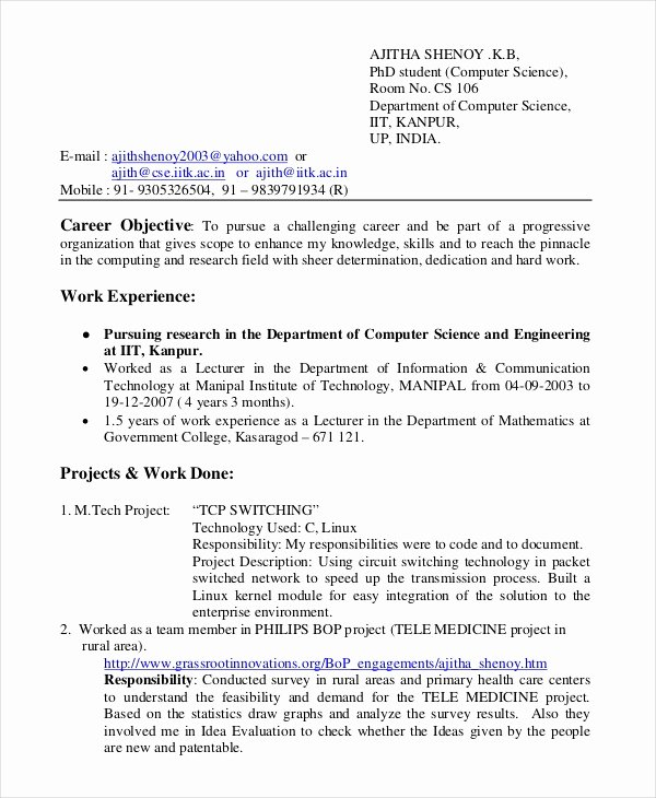 Computer Science Resume Example Unique 12 Puter Science Resume Templates Pdf Doc