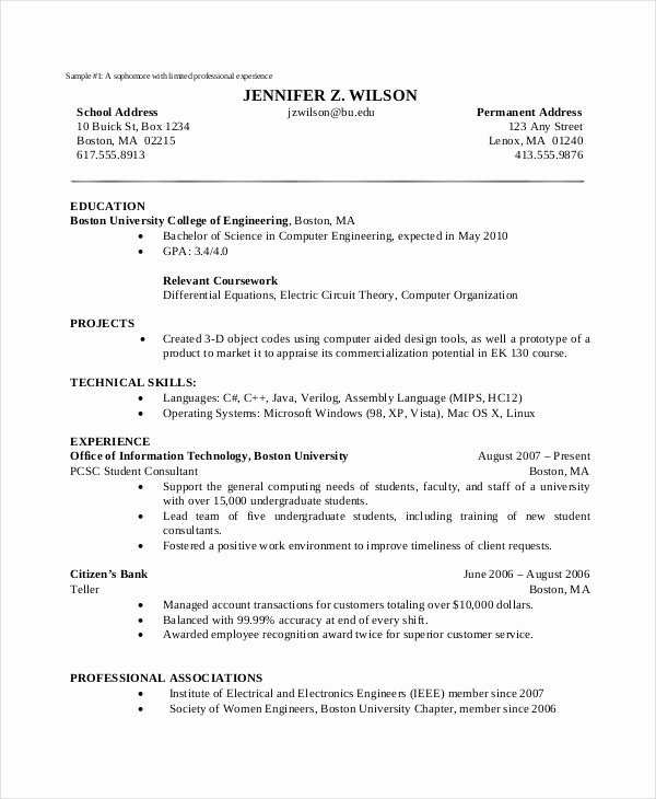 Computer Science Resume Example Unique Basic Puter Science Resume Template Resume