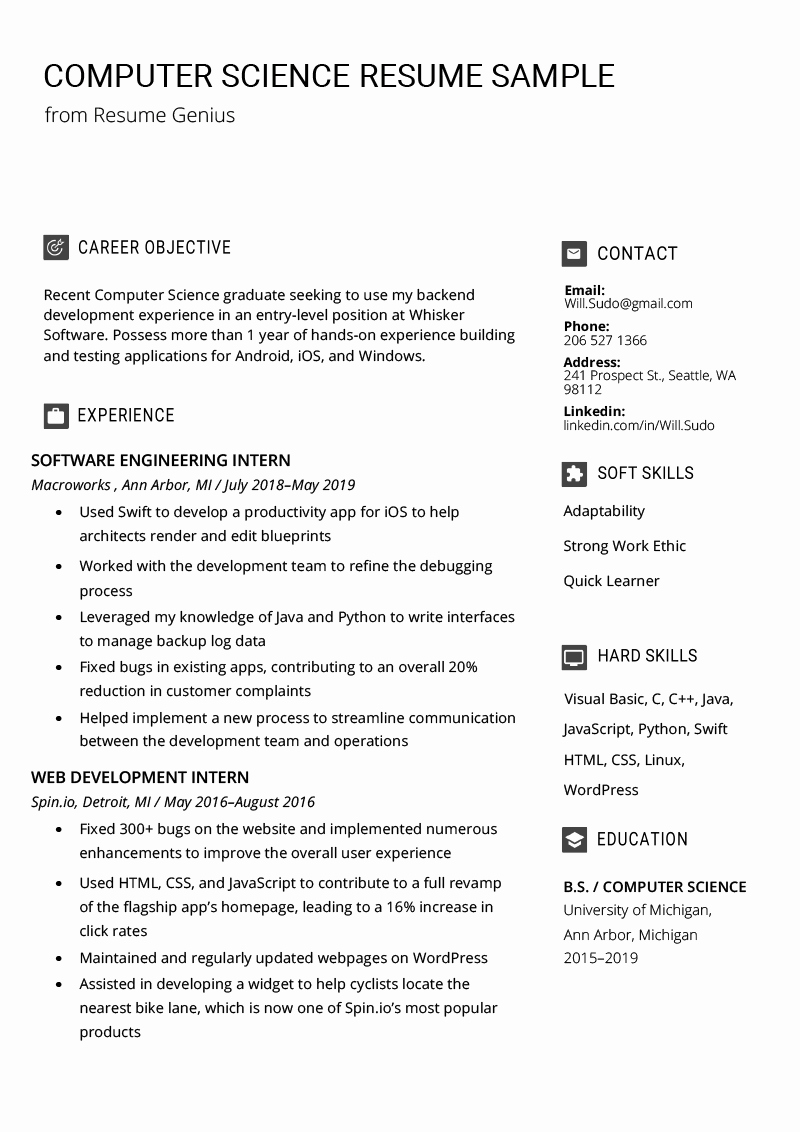 Computer Science Resume Example Unique Puter Science Resume Sample & Writing Tips