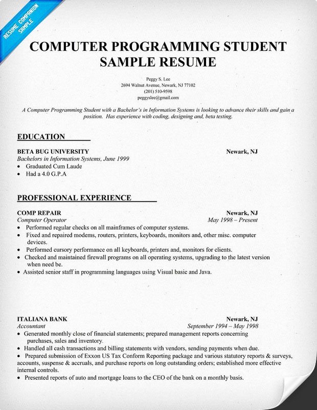 Computer Science Resume Example Unique Resume Sample Puter Programming Student