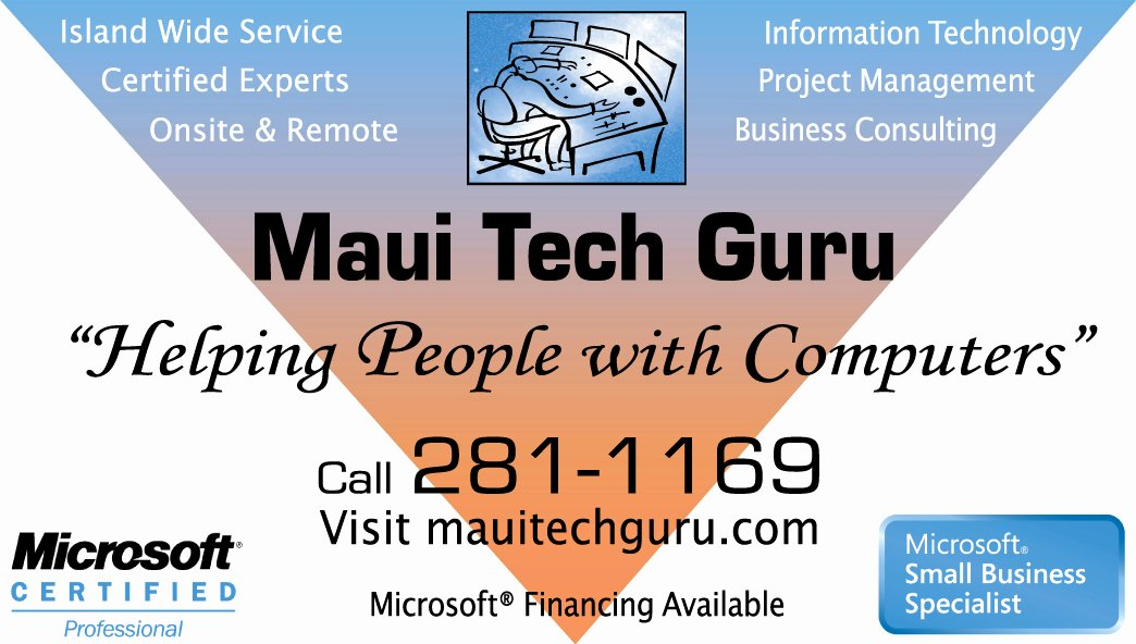 Computer Tech Business Cards Lovely Maui Tech Guru Helping People with Puters In Maui