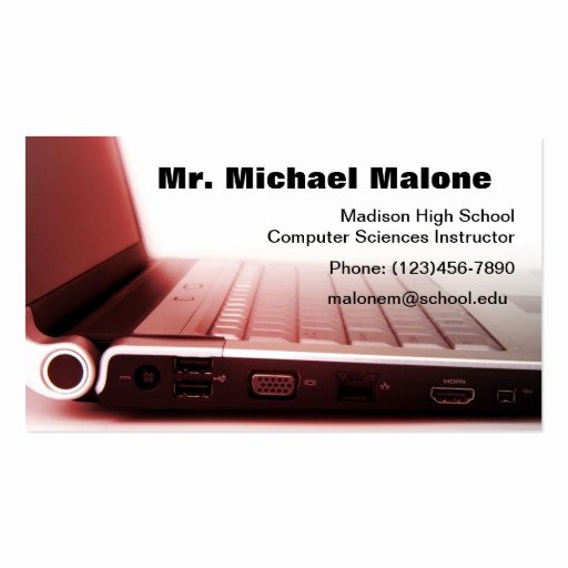 Computer Tech Business Cards New Puter Laptop Keyboard Technician Teacher Info Business