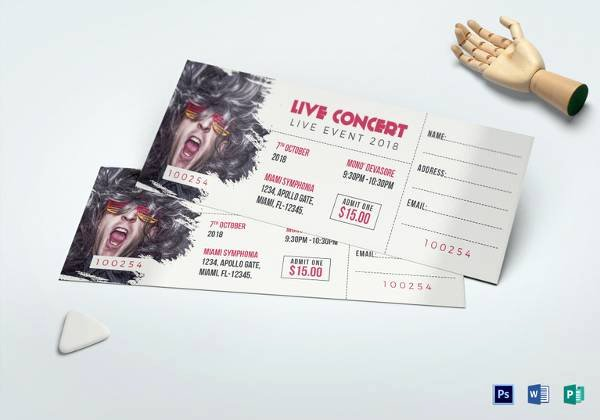 Concert Ticket Template Psd Elegant 34 Sample Concert Ticket Templates Psd Ai Eps Word