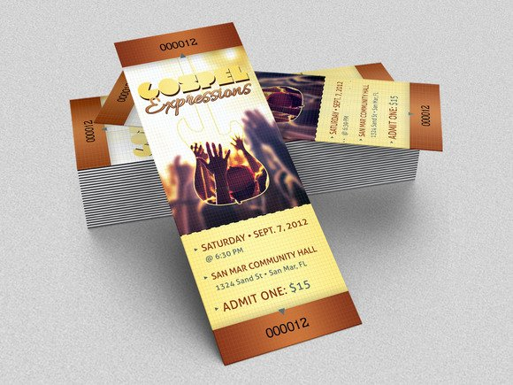 Concert Ticket Template Psd Elegant Gospel Concert Ticket Template Templates On Creative Market