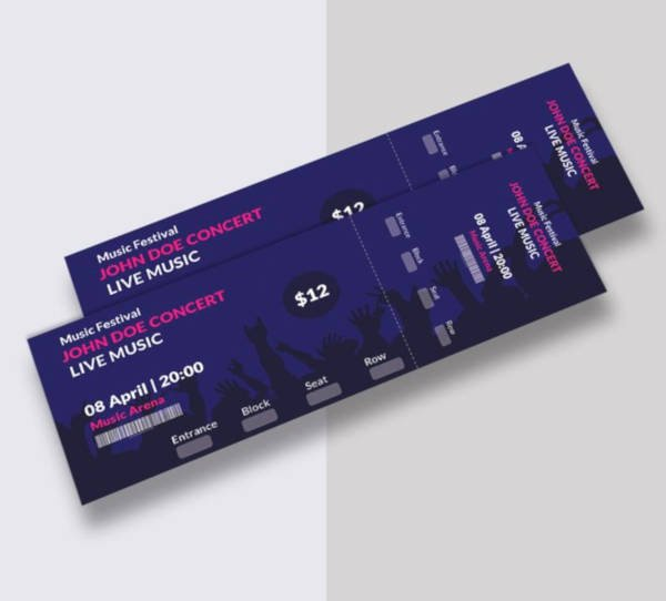 Concert Ticket Template Psd Luxury 21 Music Concert Ticket Designs & Templates Psd Ai Indesign