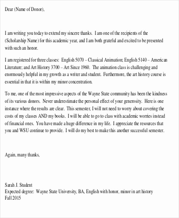 Congratulations Scholarship Award Letter Unique Sample Thank You Letter for Scholarship Award 5 Examples In Word Pdf