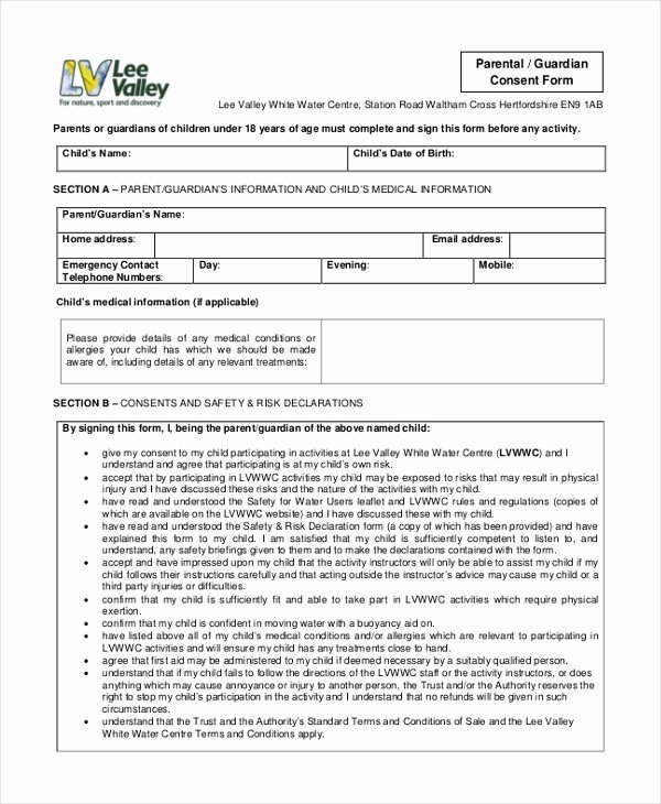 Consent form Sample for Parents Best Of Free 10 Sample Parental Consent forms In Pdf