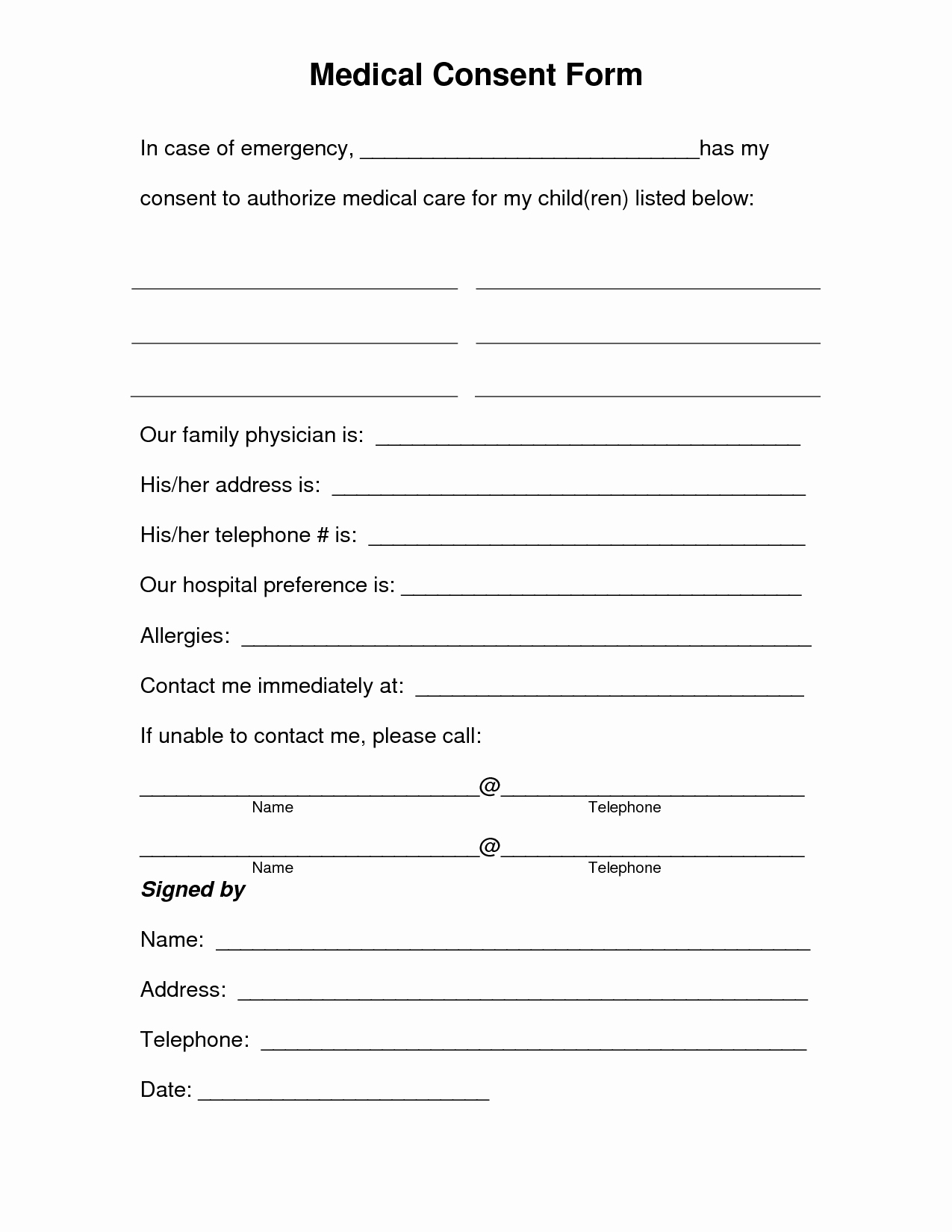 Consent form Sample for Parents Elegant Free Printable Medical Consent form Free Medical Consent form the Girls