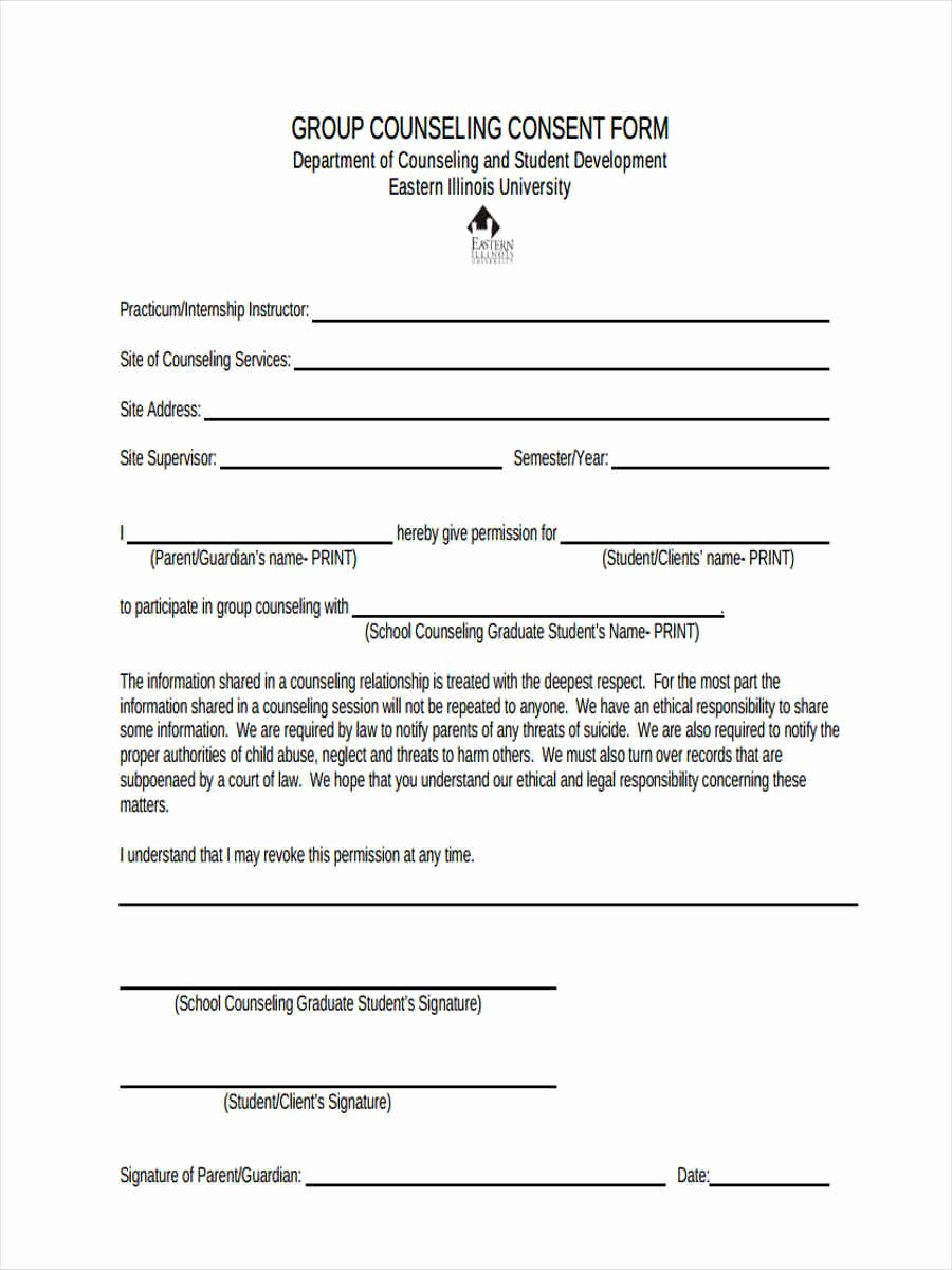 Consent form Sample for Parents Inspirational Free 7 Counseling Consent forms In Sample Example format