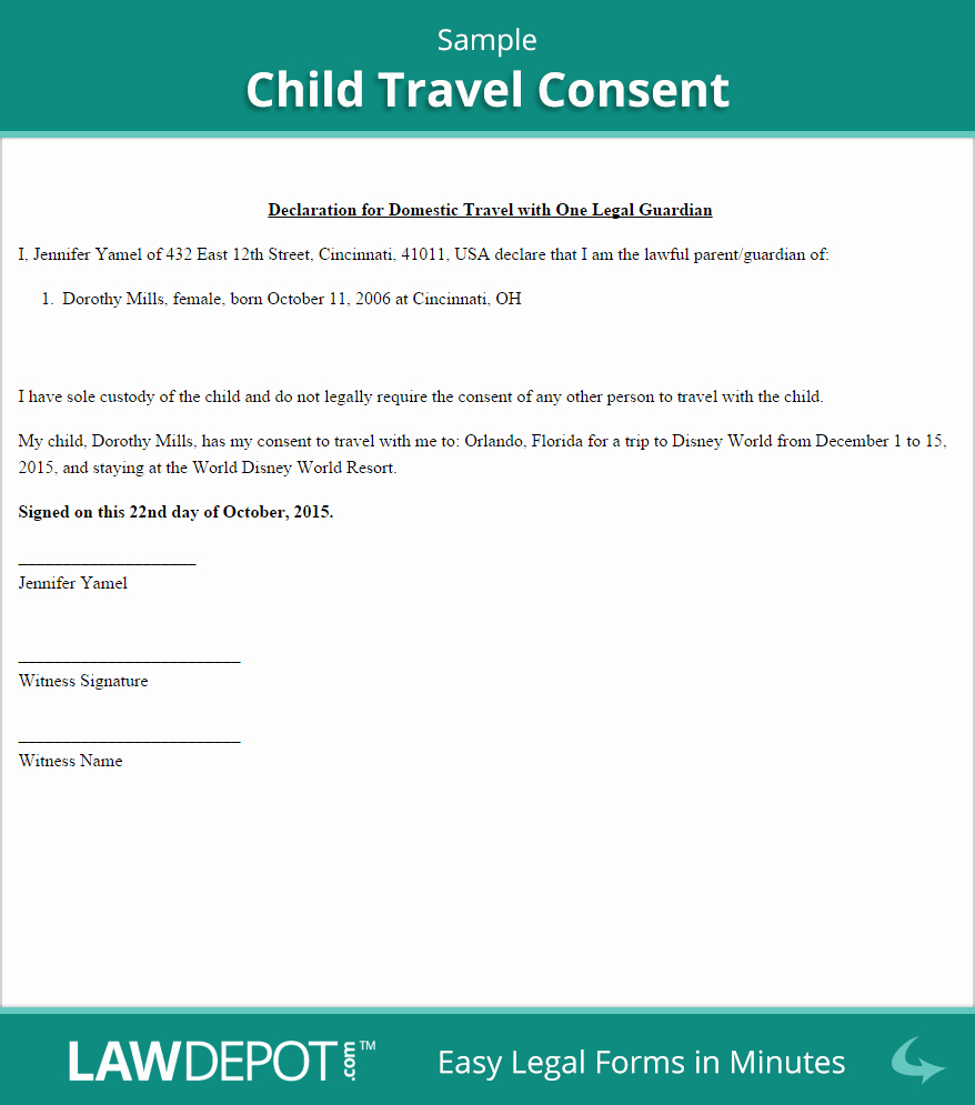 Consent form Sample for Parents Lovely Child Travel Consent Free Consent form Us
