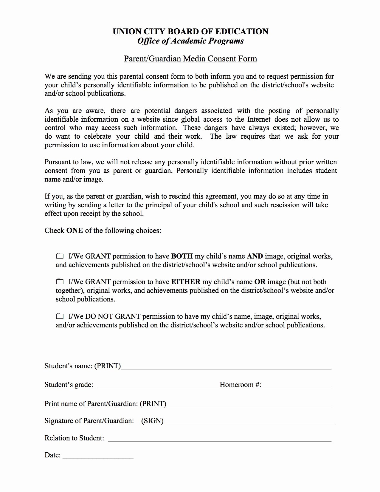 Consent form Sample for Parents Lovely Parent Consent form Basics Union City Public Schools