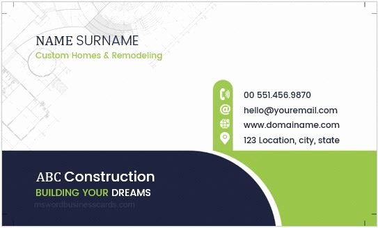 Construction Business Card Templates Awesome Construction Pany Workers Business Cards