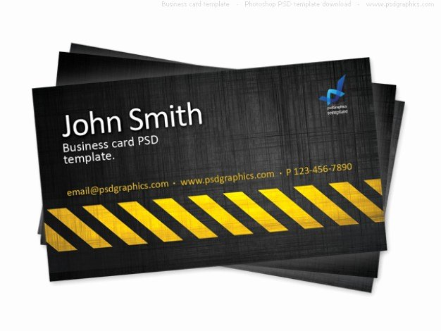 Construction Business Card Templates Beautiful Business Card Template Construction Hazard Stripes theme Psd File