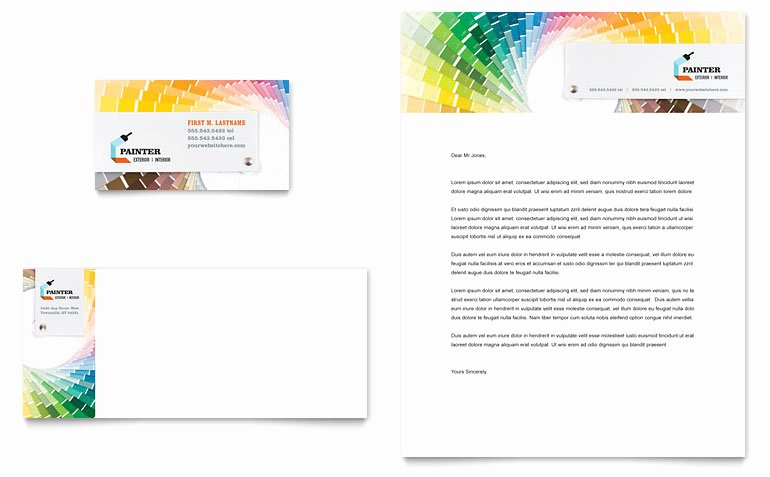 Construction Business Card Templates New House Painting Contractor Business Card & Letterhead Template Word & Publisher