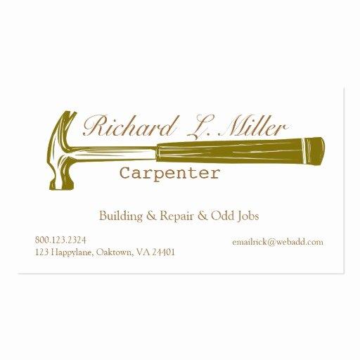 Construction Business Cards Samples Fresh Woodwork Handyman Carpenter Construction Pack Standard Business Cards