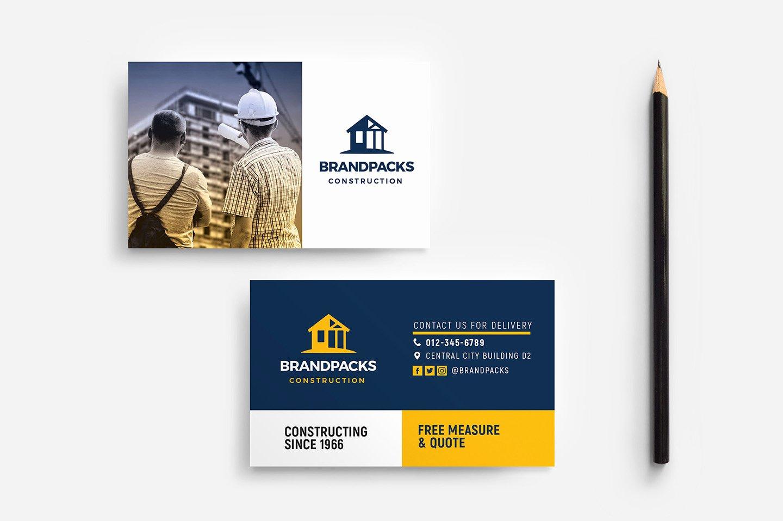 Construction Business Cards Samples Lovely Construction Pany Business Card Template In Psd Ai & Vector Brandpacks