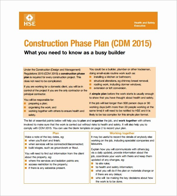Construction Business Plan Template Word Awesome 13 Health and Safety Plan Templates Google Docs Ms Word Apple Pages